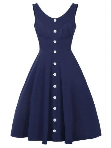 Hot Button Up Fit and Flare Dress DEEP BLUE XL