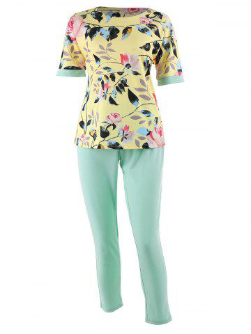 Best Plus Size Floral Printed  Top and Cigarette Pants - 6XL LIGHT YELLOW Mobile