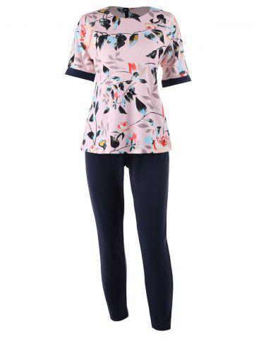 Online Plus Size Floral Printed  Top and Cigarette Pants - 3XL PINK Mobile