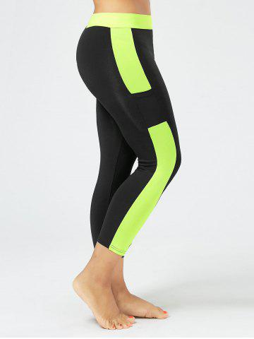 Online Plus Size Two Tone Workout Tights with Pockets BLACK XL