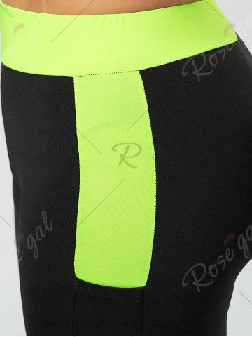 Best Plus Size Two Tone Workout Tights with Pockets - XL BLACK Mobile