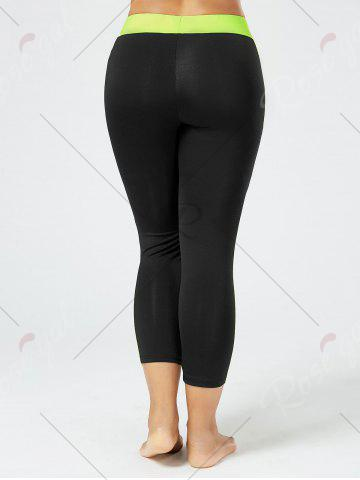 Unique Plus Size Two Tone Workout Tights with Pockets - 2XL BLACK Mobile