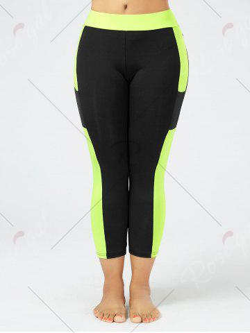 Unique Plus Size Two Tone Workout Tights with Pockets - 3XL BLACK Mobile