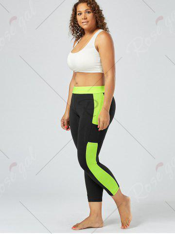 Cheap Plus Size Two Tone Workout Tights with Pockets - 3XL BLACK Mobile