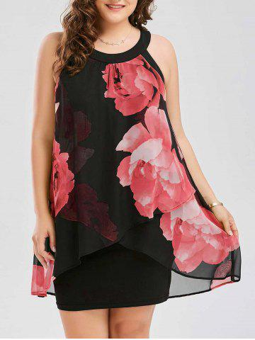 Plus Size Floral Overlay Sheath Dress - Red - 5xl