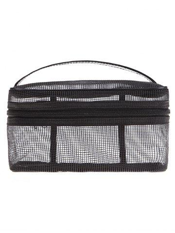 Fancy Mesh Makeup Tool Cosmetic Bag - BLACK  Mobile