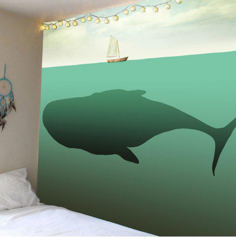Home Decor Whale Boat Print Wall Hanging Tapestry - Light Green - W79 Inch * L71 Inch