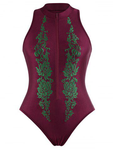 Shops Embroidered High Neck Plus Size Swimsuit WINE RED 4XL