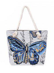 Butterfly Printed Canvas Shoulder Bag -