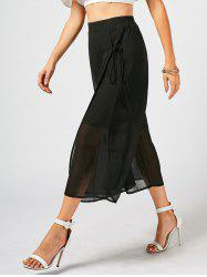 Lace Up Overlay Chiffon Wide Leg Pants