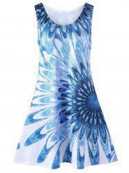 Floral Sleeveless Plus Size Mini Tank Dress - BLUE