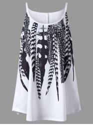 Plus Size Feather Print Cami Top - WHITE
