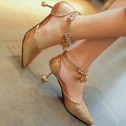 Wedding Beaded High Heel Glitter Pumps - GOLDEN