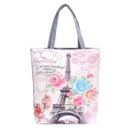 Printed Canvas Shoulder Bag -