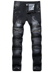 Argyle Stitched Zip Jeans