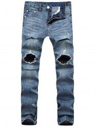 Zip-Hem Knee Broken Jeans - DENIM BLUE