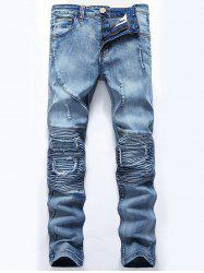 Ripped Slim-Fit Biker Jeans - LIGHT BLUE