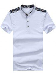 Floral Trim Half Button Mandarin Collar Tee