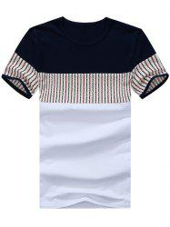 Striped Panel Color Block Tee - WHITE 3XL