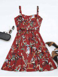 Printed A Line Sundress - RED