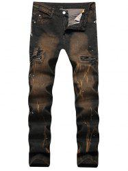 Paint Splatter Zip Detail Ripped Jeans - TAN