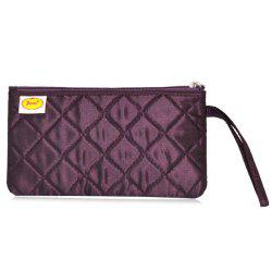 Satin Zip Top Quilted Wristlet - DEEP PURPLE