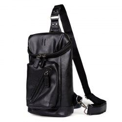 Faux Leather Zippers Crossbody Bag