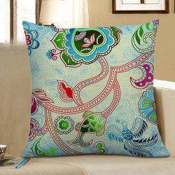 Decorative Flower Fish Bird Print Pillow Case - LIGHT BLUE