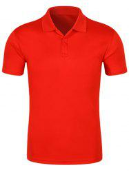 Half Button Quick Dry Plain Polo Shirt - RED 3XL