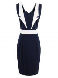 Lapel Panel Color Block Bodycon Dress