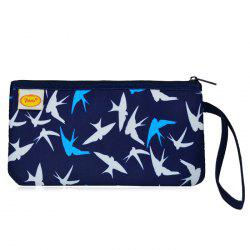 Satin Zip Top Quilted Wristlet - BLUE AND WHITE