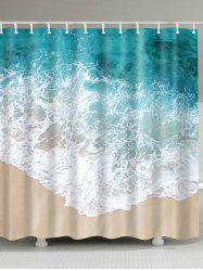 Waterproof Sea Wave Bathroom Shower Curtain - COLORMIX