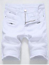 Zip Detail Frayed Hem Biker Denim Shorts - WHITE