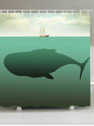 Whale Boat Print Waterproof Fabric Shower Curtain