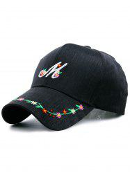 Floral Letter Embroidered Baseball Cap - BLACK