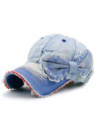 Bowknot Artificial Sanding Denim Baseball Hat - LIGHT BLUE