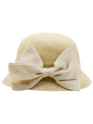 Wide Bowknot Ribbon Embellished Sun Hat - PALOMINO