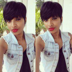 Stylish Full Bang Short Human Hair Wig For Women - JET BLACK