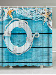 Buoy Wood Grain Washable Fabric Shower Curtain