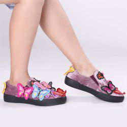 Round Toe Butterfly Slip On Sneakers - Pourpre