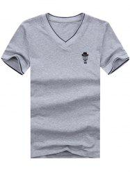 V Neck Embroidered Tee - GRAY XL
