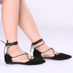 Lace Up Suede Pointed Toe Flats - BLACK