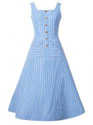 Buttoned Stripe Tea Length Dress