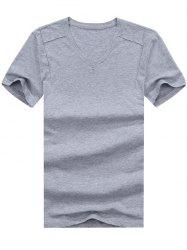Short Sleeve V Neck Basic Tee -
