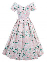 Rose Print Short Sleeve Vintage Dress