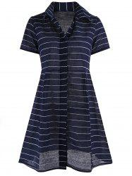 Button Up Mini Stripe  Shirt Dress