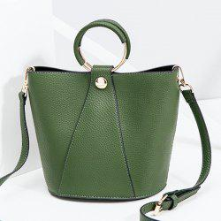 Metal Ring Faux Leather Handbag -