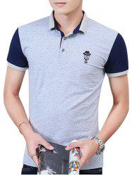 Two Tone Embroidered Polo Shirt - LIGHT GRAY 3XL