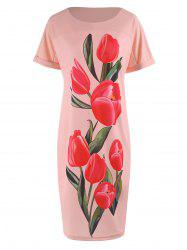 Tulip Floral Plus Size Bodycon Dress