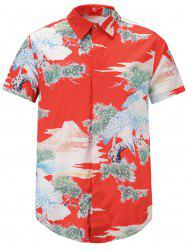 Japanese Style 3D Eagle Print Short Sleeve Shirt